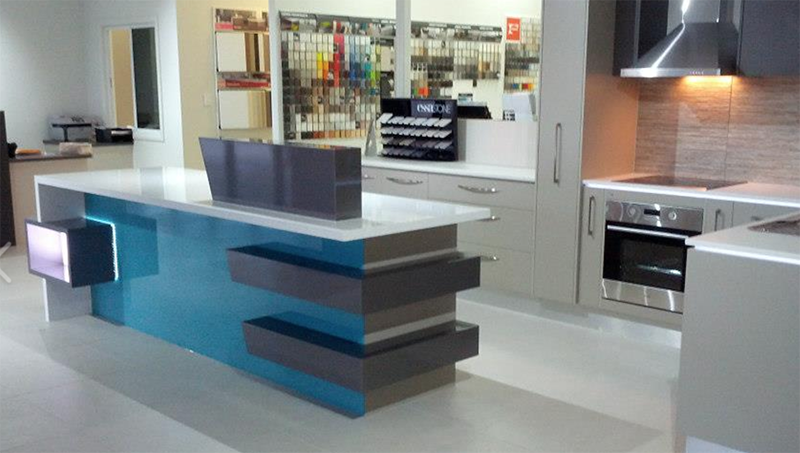 Custom kitchens with teal counter in Sunshine Coast
